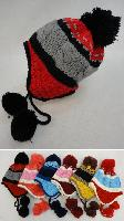 Child's Fleece-Lined Knit Cap with Ear Flap & PomPom [TriColor]